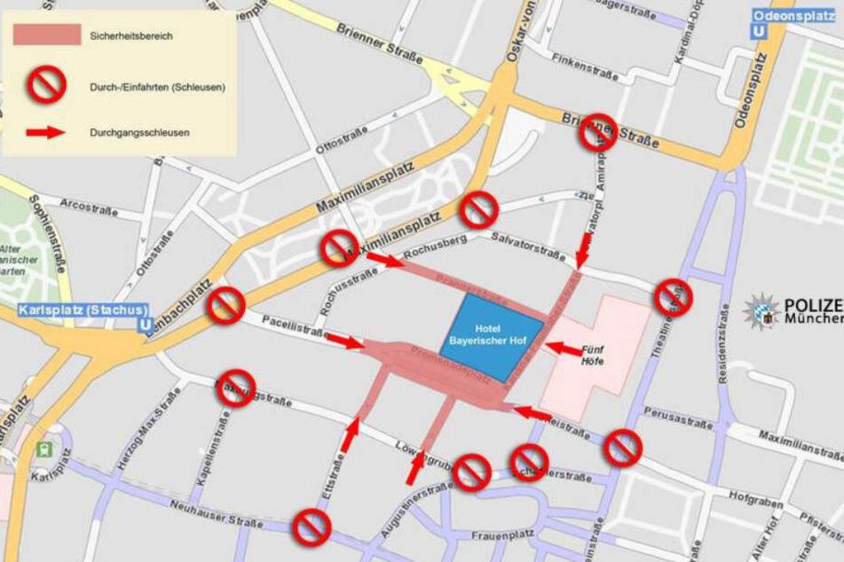"""Die Polizei wird in München eine Sperrzone rund um den """"Bayerischen Hof"""" errichten."""