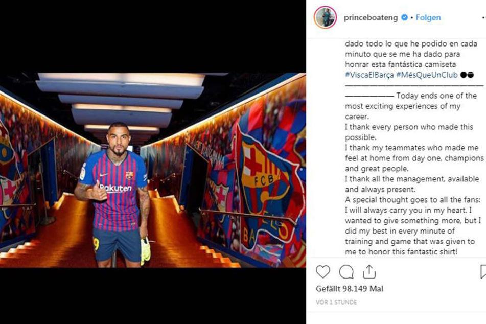 Kevin-Prince Boateng verabschiedet sich vom FC Barcelona via Instagram.