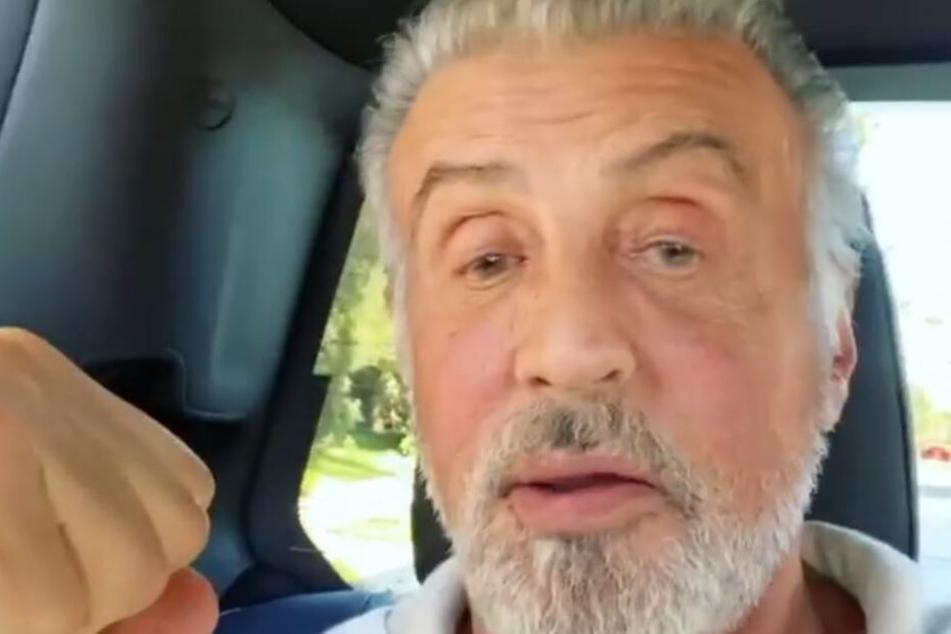 Wow! Sylvester Stallone komplett in weiß-grau.