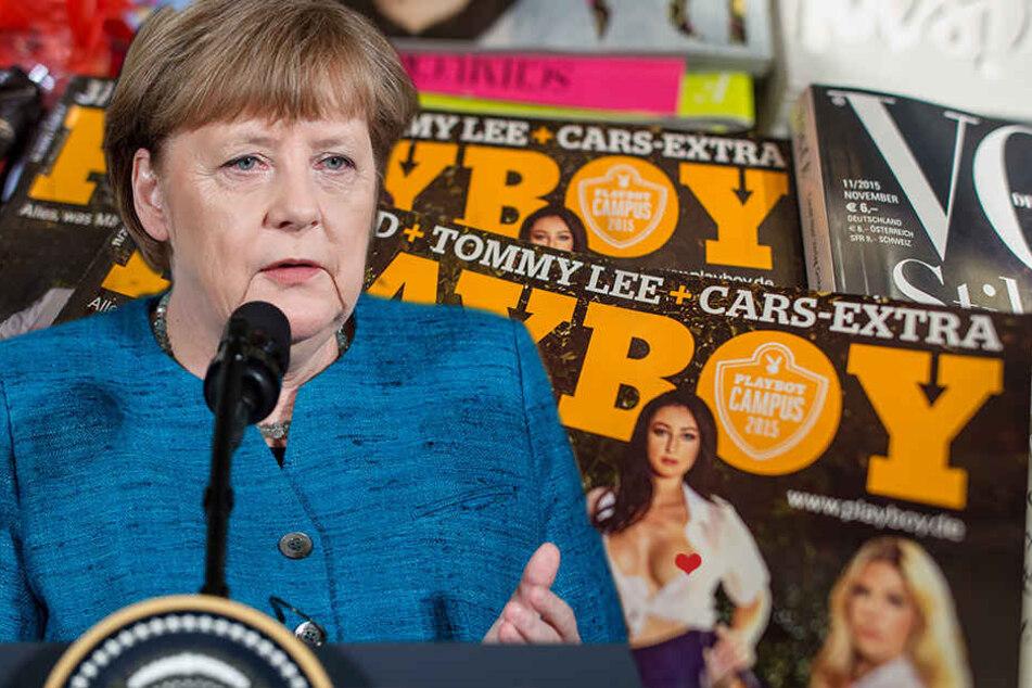 Merkel und der Playboy: Für die nackigen Frauen interessierte sich die Kanzlerin aber nicht.