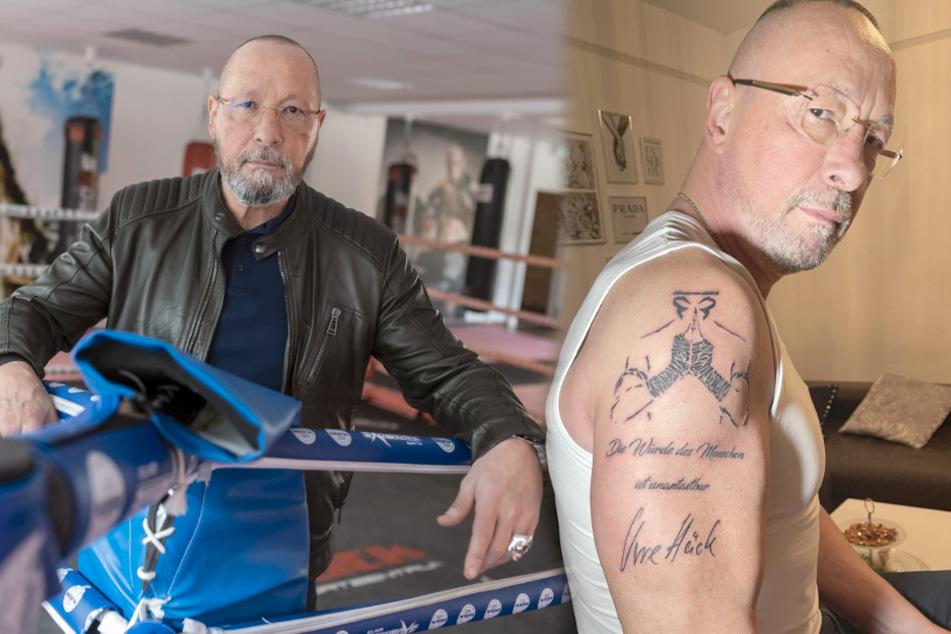 Ex-Porsche-Betriebsratchef Uwe Hück (58) hat sich Artikel 1 des Grundgesetzes auf den Oberarm tätowiert. (Fotomontage)