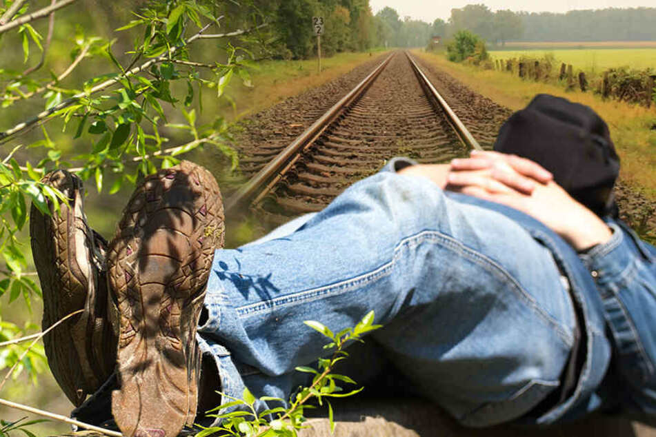 Der Mann schlief auf den Gleisen ein. (Bildmontage)