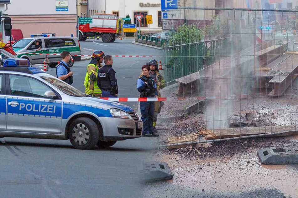 Gasaustritt in der Stollberger Innenstadt! Große Mengen strömten aus der beschädigten Leitung.