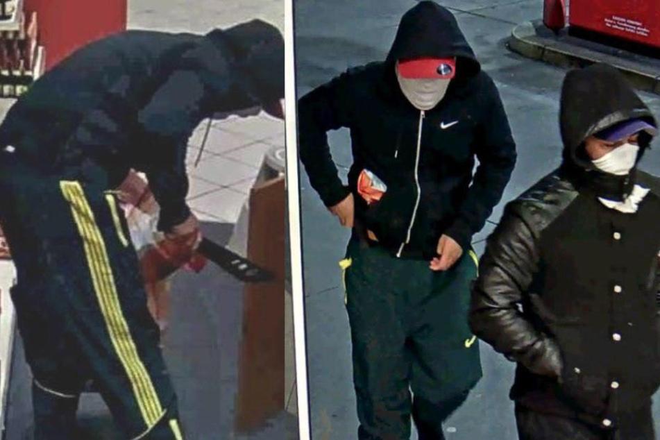 Tankstelle mit Machete ausgeraubt: Wer kennt diese Männer?
