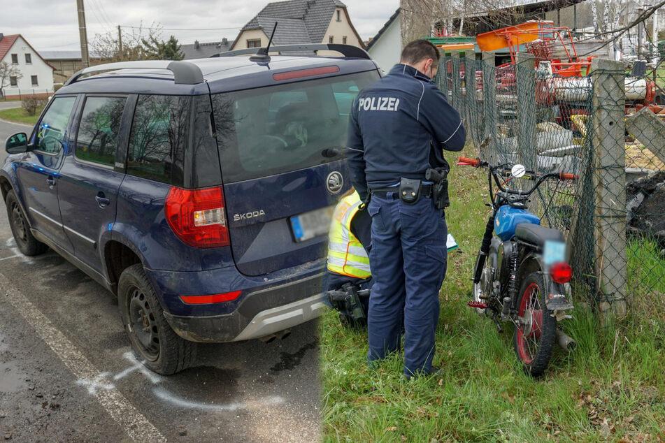 Skoda Yeti kollidiert bei Kamenz mit jungem Simson-Fahrer und verletzt ihn schwer