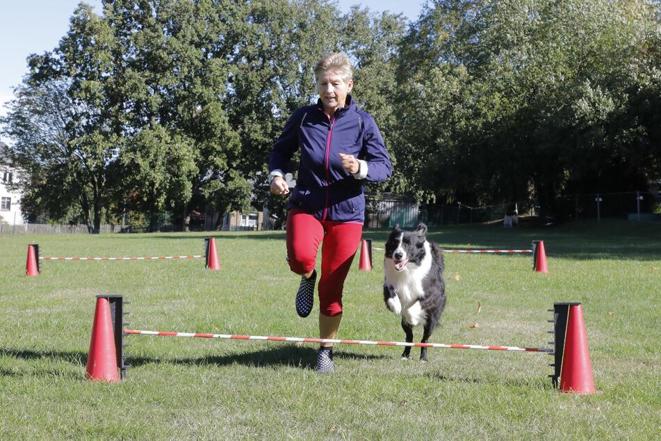Ines Krause (59) trainiert mit Hund Charly für das Turnierwochenende.
