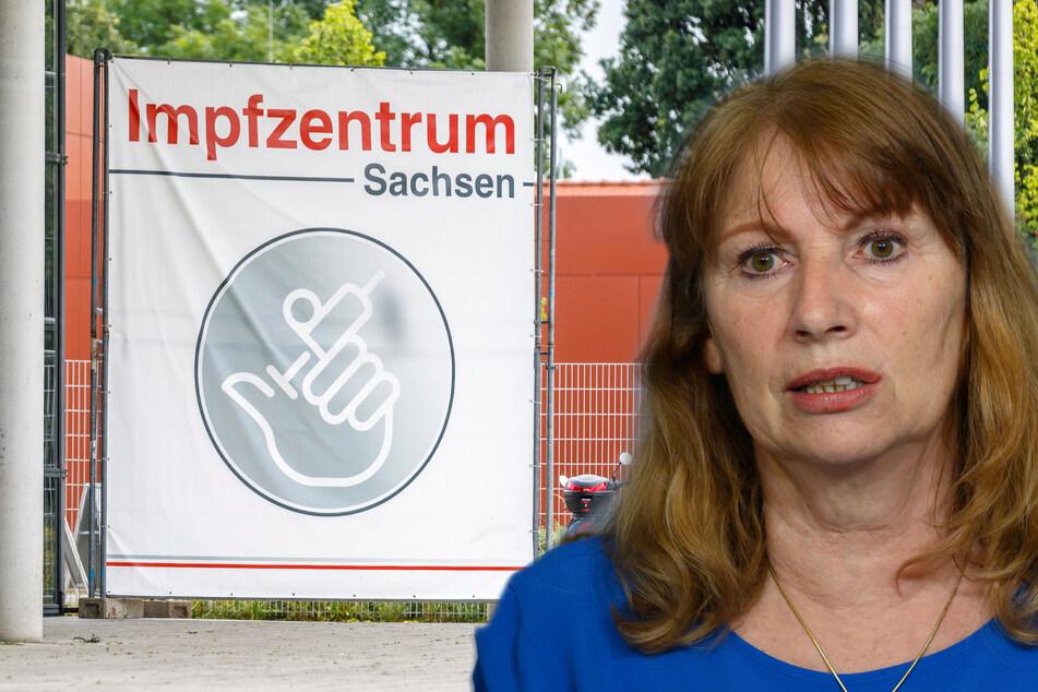 Sachsens Sozialministerin Petra Köpping (63, SPD) bestätigte am Freitag, dass Sachsens Impfzentren im September schließen. (BIldmontage)