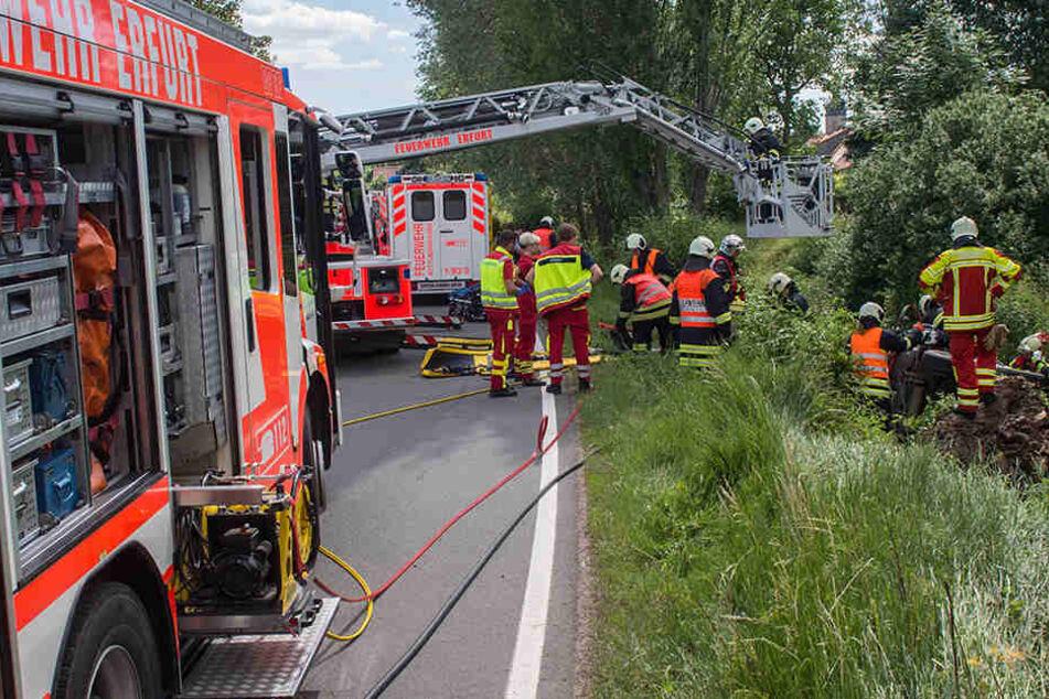 Die Erfurter Feuerwehr war im Einsatz um die Frau zu retten.