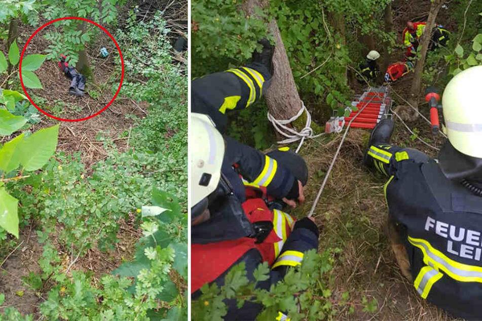 Die verletzte Person, die nach dem Absturz an einem Baum lag, musste via Trage und Leiter nach oben transportiert werden.