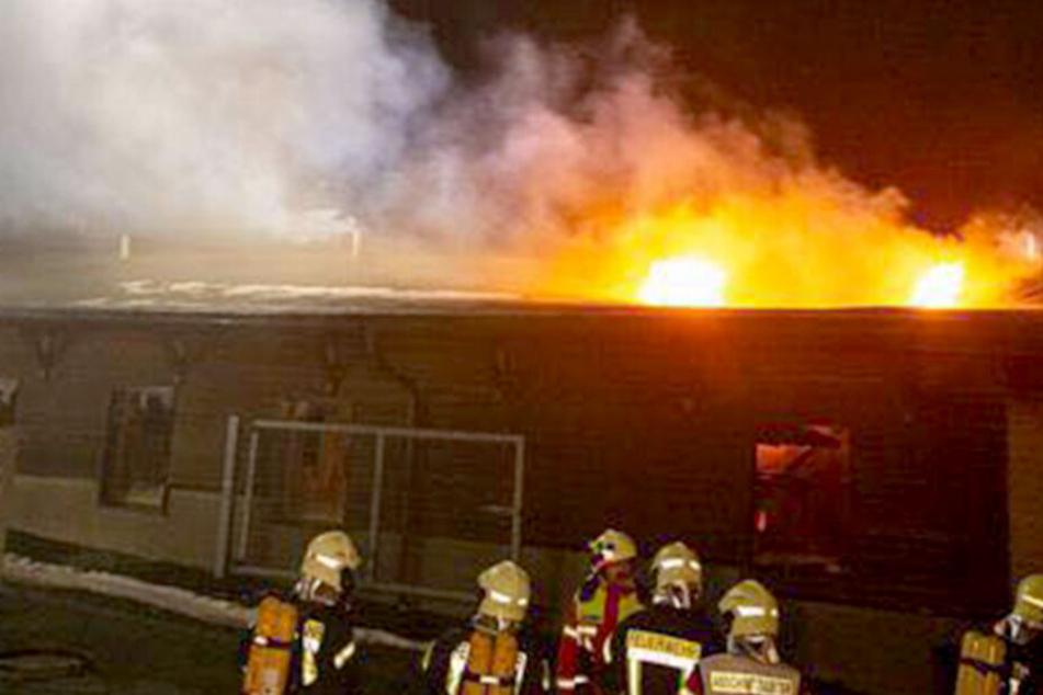 Flammen schlagen aus Dach: Brand in Gewerbegebiet richtet Millionen-Schaden an