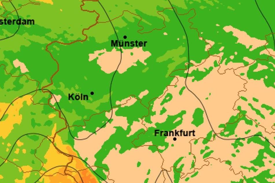 Laut WetterOnline rast ein Sturm aus Frankreich Richtung Deutschland.