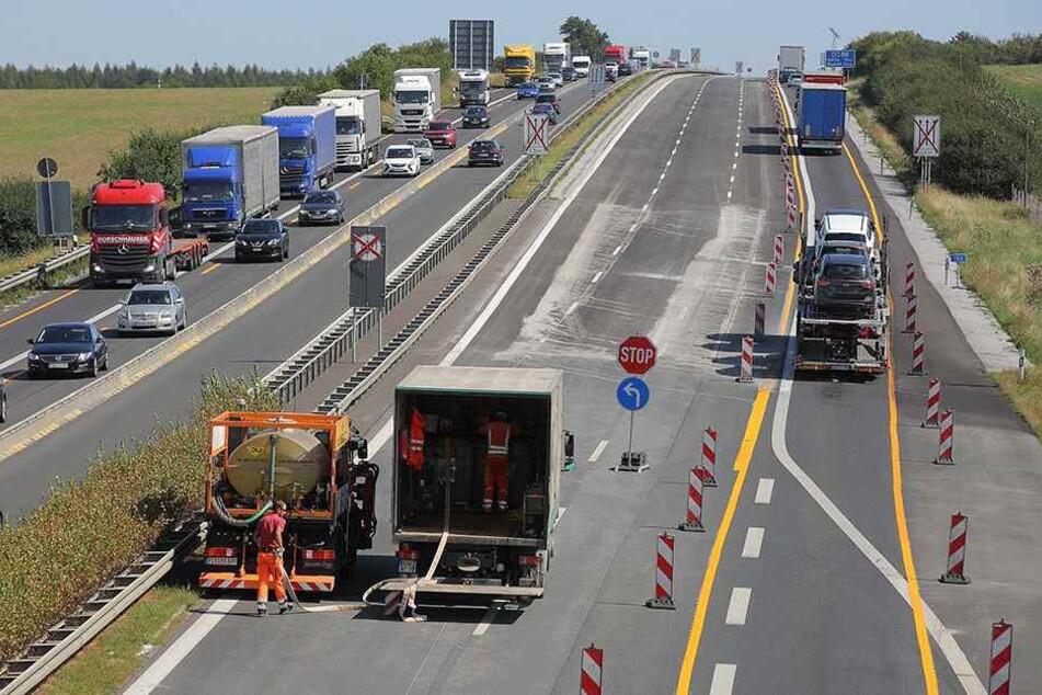 Die A4 zwischen Ottendorf-Okrilla und Pulsnitz. Hier war gleich zweimal  schlecht aufgebrachter Belag entdeckt worden.