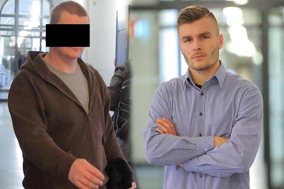 Tom L. (l, 31) schwieg zum Vorwurf der Pfefferspray-Attacke. YouTuber Max Herzberg (22) musste als Zeuge im Amtsgericht aussagen.
