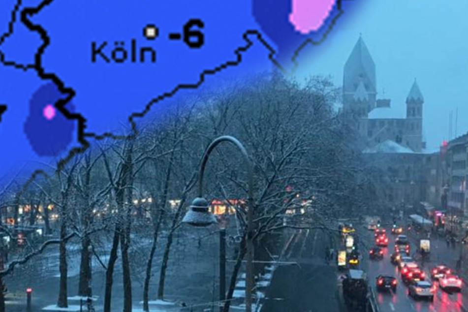 Am Kölner Neumarkt fiel am Dienstag Schnee.