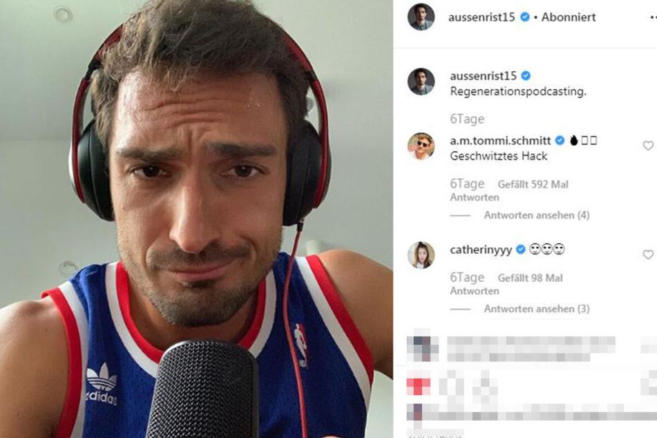 """Hummels und Mikro? Das gibt es in letzter Zeit häufiger, denn mit Bruder Jonas ging erst kürzlich ihr gemeinsamer Podcast """"Alleine ist schwer"""" öffentlich."""
