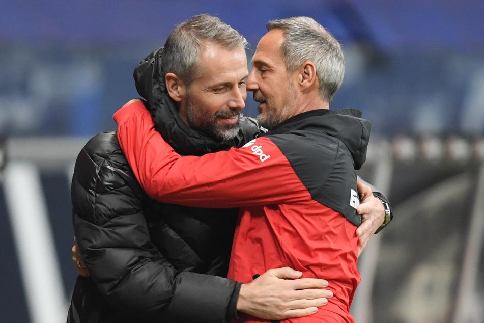 Aufeinandertreffen: Ex-Gladbach-Coach Marco Rose (44, l.) und Neu-Trainer Adi Hütter (51) kennen und schätzen sich gegenseitig.