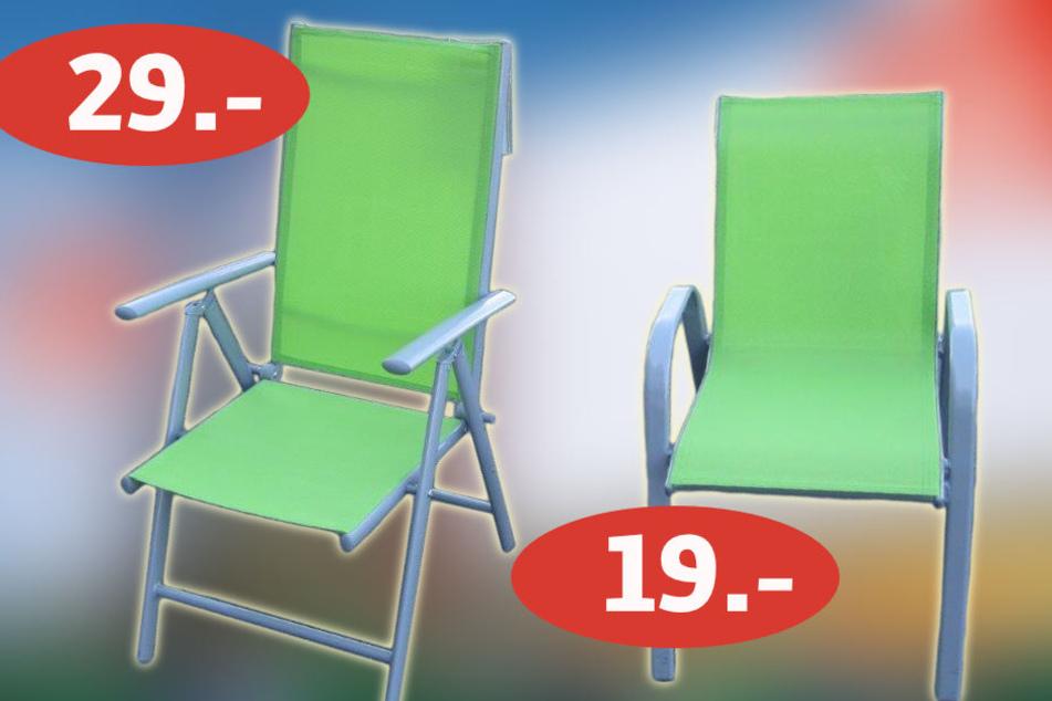 Für 29 Euro gibt es den Klappstuhl (li., 791001.4) oder für 19 Euro den Stapelstuhl (re., (791001.5.)).