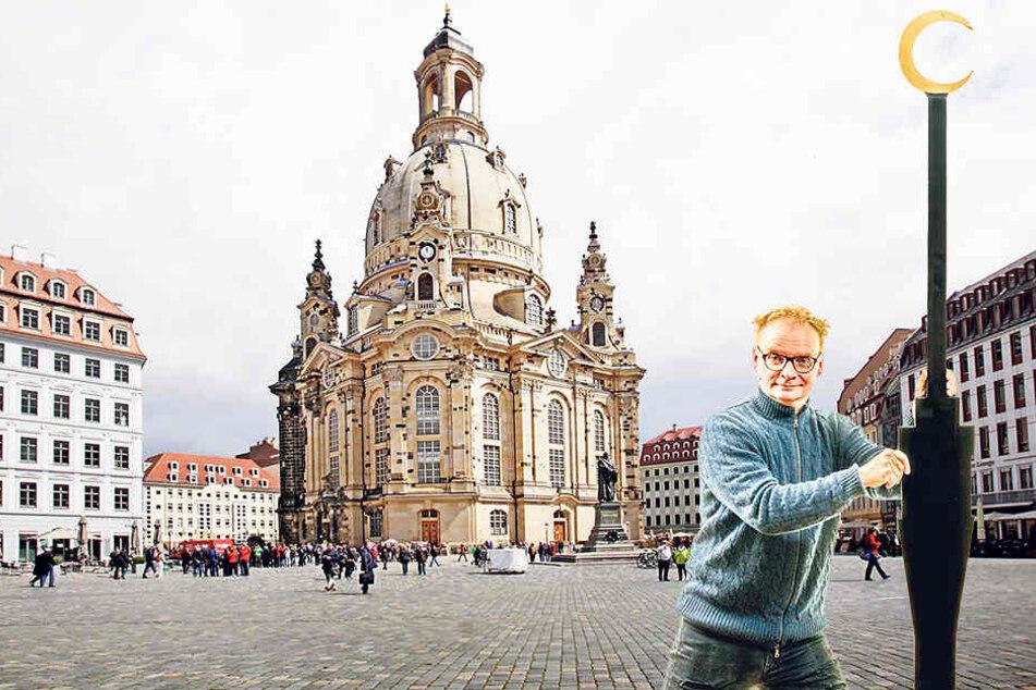 Mit Augenzwinkern, Humor und der temporären Fernsehturm-Installation will Uwe  Steimle (53) dem fremdenfeindlichen  Ruf Dresdens entgegentreten.