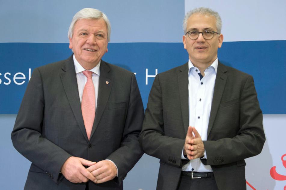 Bilden erneut die hessische Regierungskoalition: Ministerpräsident Volker Bouffier (Li.) und Grünen-Chef Tarek Al-Wazir.