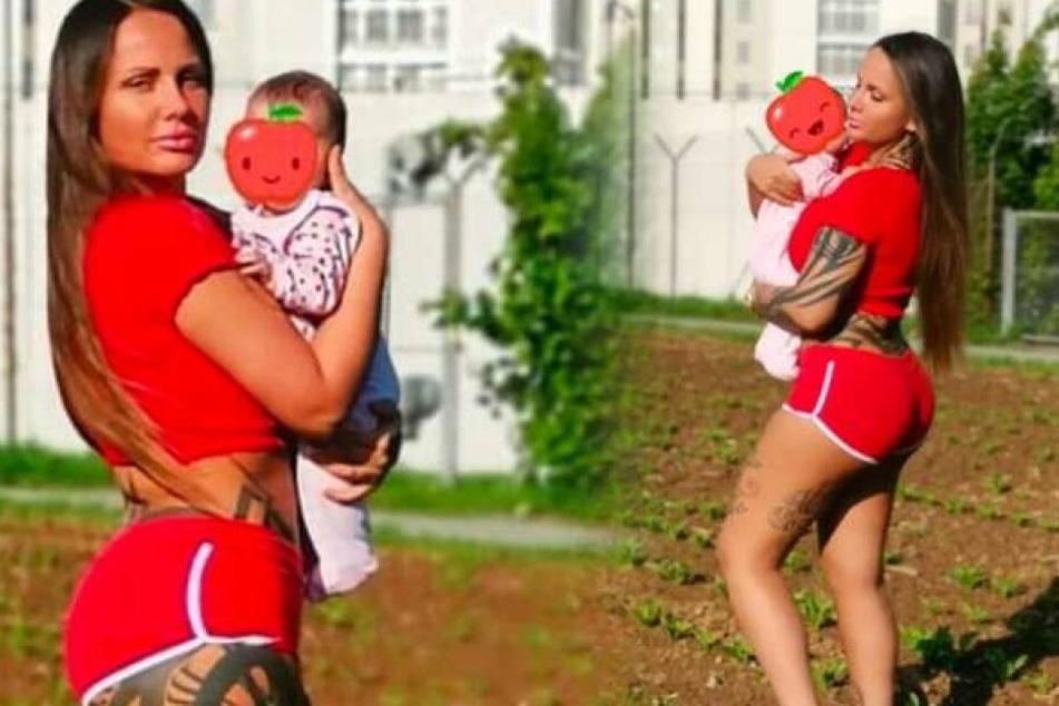 Fotomontage: Rapperin Schwesta Ewa wird ihre Haftstrafe zusammen mit Töchterchen Aaliyah Jeyla antreten.