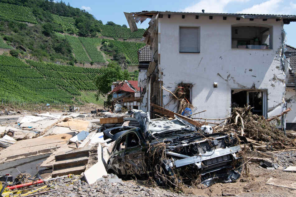 Flutkatastrophe in Rheinland-Pfalz: Das Foto zeigt ein komplett zerstörtes Haus in Marienthal im Ahrtal.