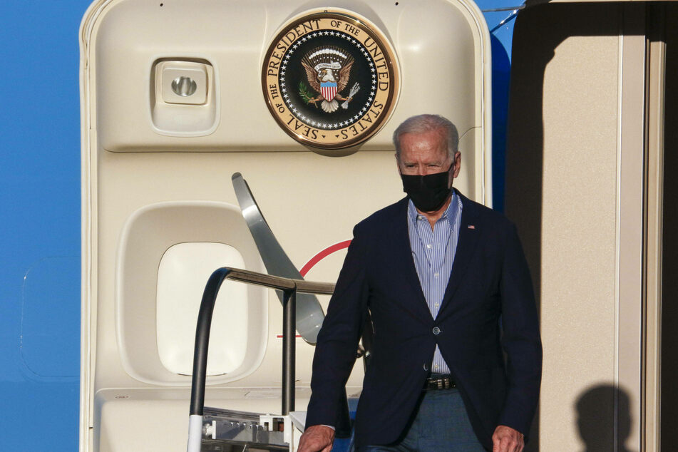 President Joe Biden arrives in Long Beach, California, to rally with Governor Gavin Newsom ahead of the September 14 recall election.
