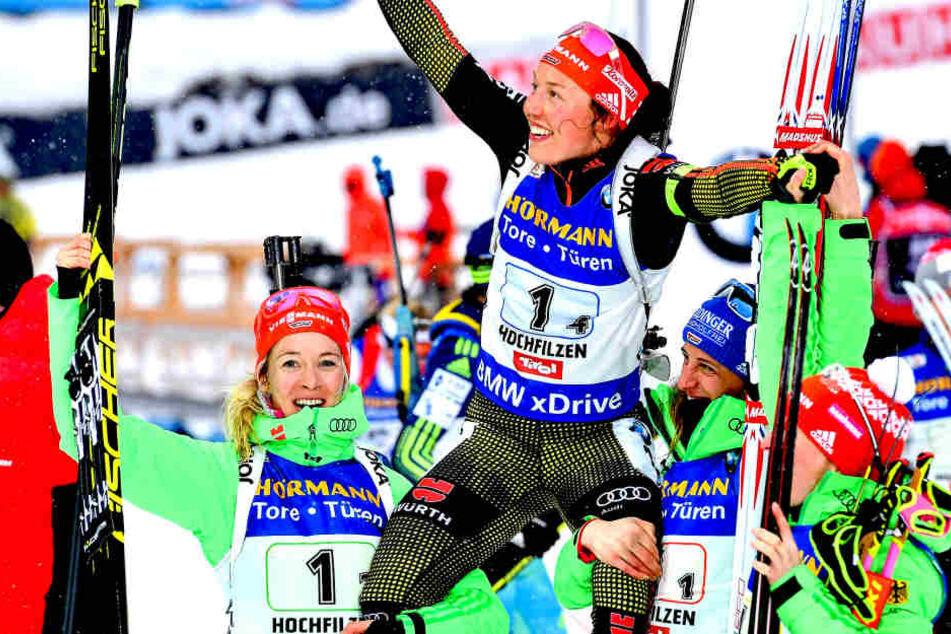 Zusammen mit Vanessa Hinz, Maren Hammerschmidt und Franziska Hildebrand holte Dahlmeier den zehnten Sieg für eine deutsche Damen-Staffel in 22 Jahren.