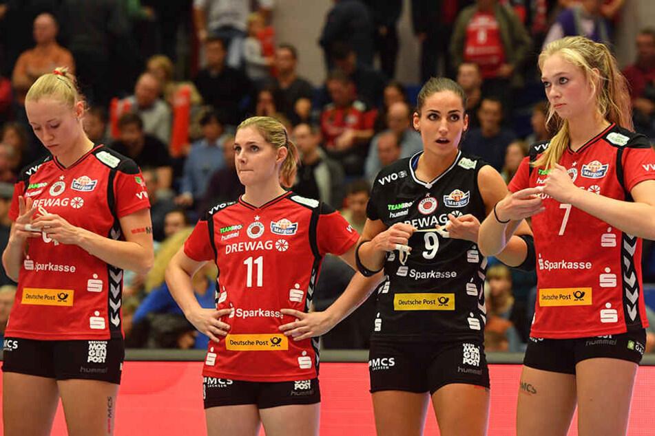 Traurige Gesichter bei den Mädels vom DSC: Mit einem 1:3 mussten sich die Volleyballerinnen geschlagen geben.