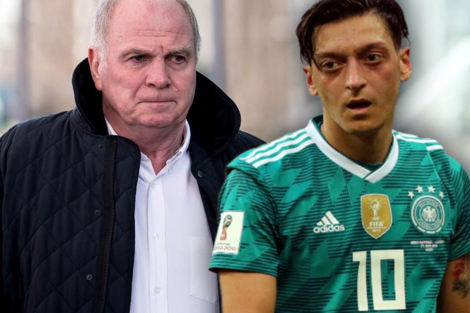 Uli Hoeneß (l.) hat Mesut Özil (r.) nach Rücktritt aus DFB-Team scharf kritisiert.