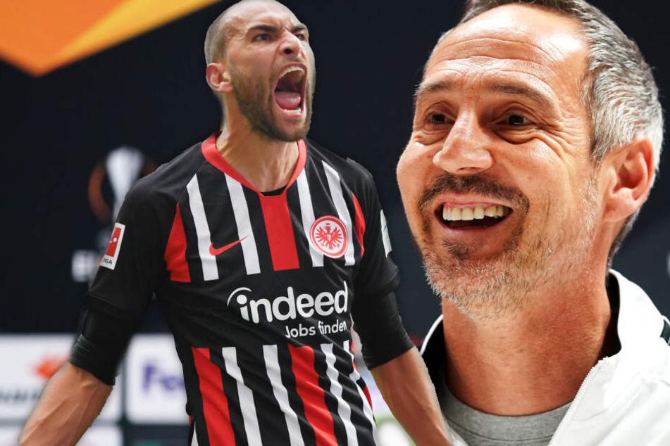 Fotomontage: Stürmer Bas Dost (Li.) könnte Eintracht-Coach Adi Hütter durchaus früher als zunächst gedacht wieder zur Verfügung stehen.