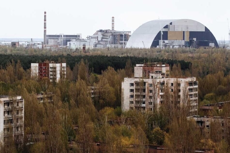 Blick auf die Schutzhülle über dem zerstörten Reaktor vier in Tschernobyl.