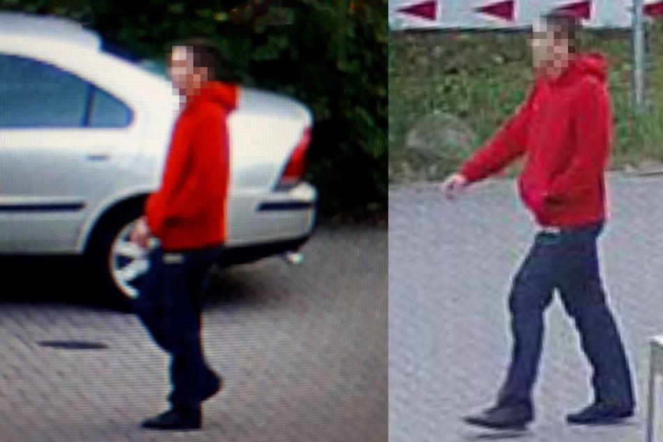 Zum Tatzeitpunkt trug der Verdächtige einen roten Pulli.