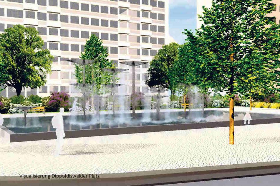 Am Dippoldiswalder Platz ist eine Brunnenanlage vorgesehen.