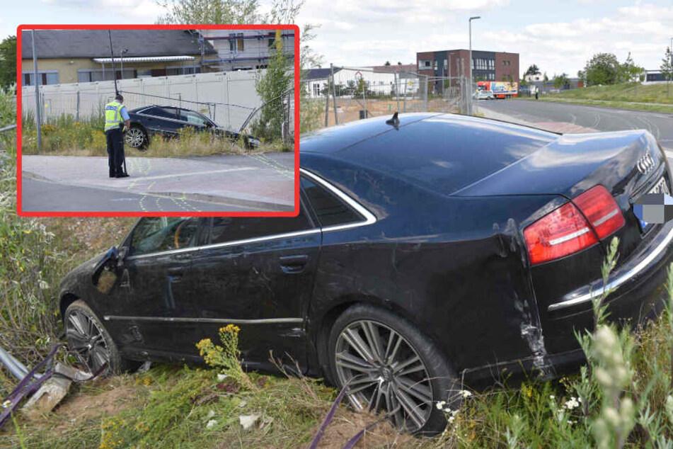 Typ hinterlässt mit fettem Audi A8 Spur der Verwüstung