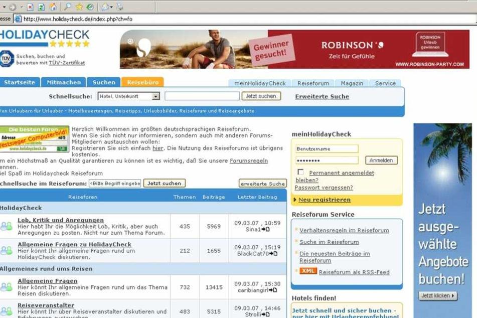 """Auf Webseiten wie """"www.holidaycheck.de"""" können sich Reisende über ihre Erfahrungen mit bestimmten Hotels oder Veranstaltern austauschen."""