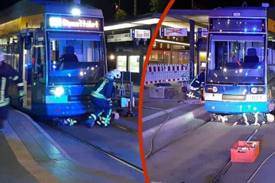 Leipziger Feuerwehr wegen eingeklemmter Person unter Tram alarmiert