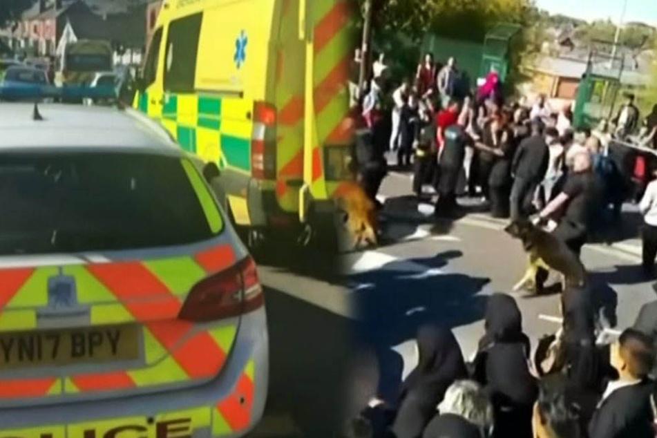 """Massenschlägerei an der """"Fir Vale School"""": Die Polizei musste mit einem Großaufgebot anrücken."""