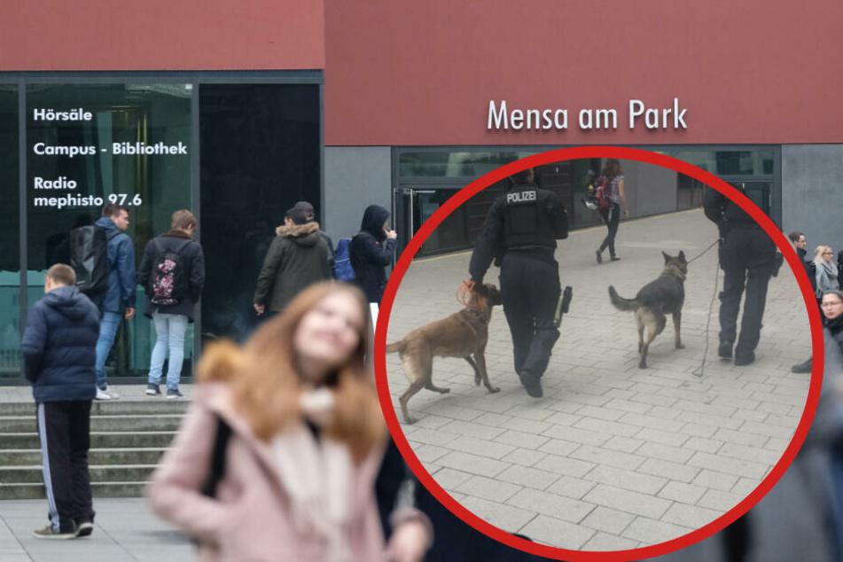 Zwei Polizisten waren auf dem Uni-Campus mit Drogenspürhunden unterwegs.
