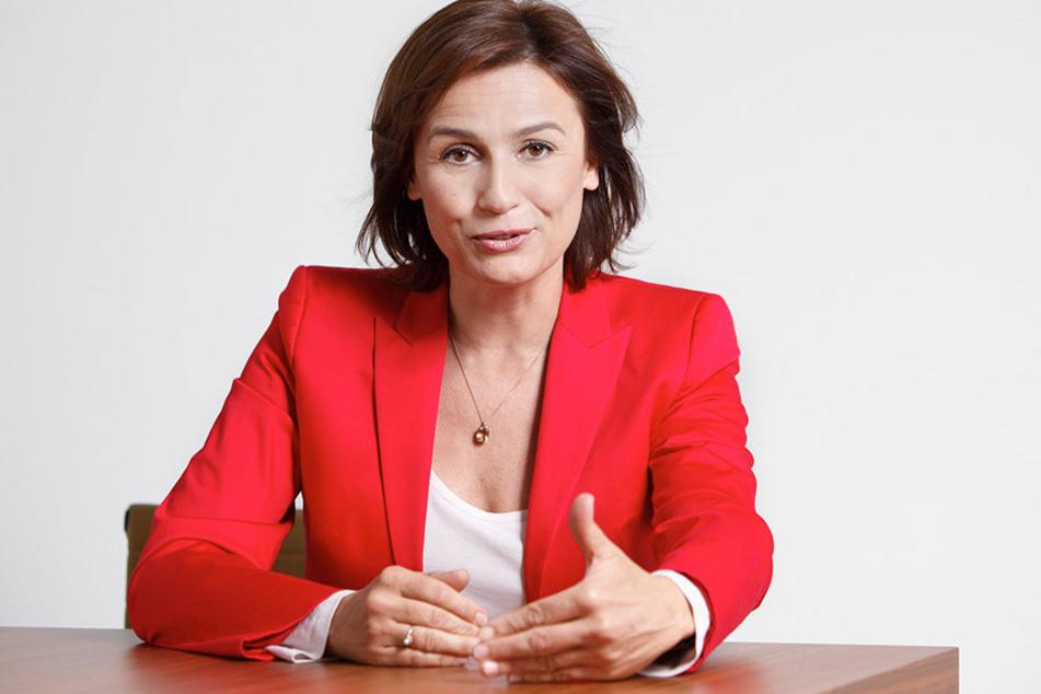 """ARD-Talkerin Sandra """"Maischberger"""" (50)."""