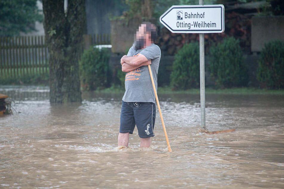Die kleine bayerische Gemeine Otting wurde stark überflutet.