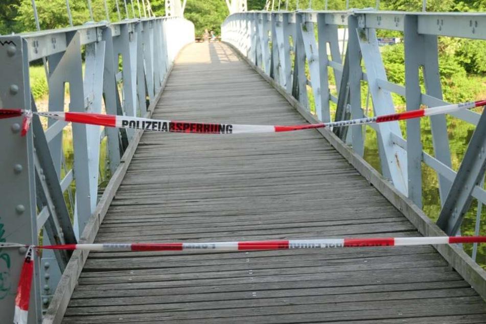 Die Hängebrücke in Grimma wurde gesperrt.