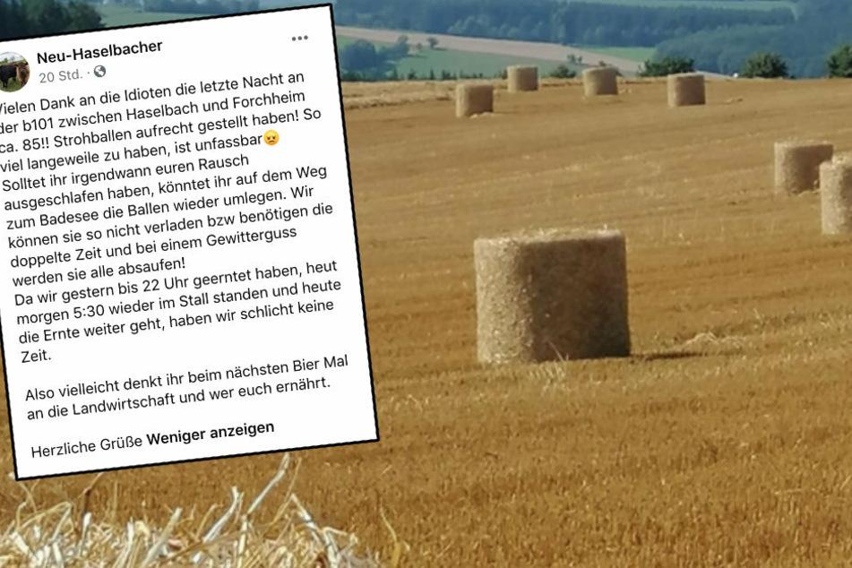 Bauern aus dem Erzgebirge sauer: Deppen stellen Strohballen aufrecht hin