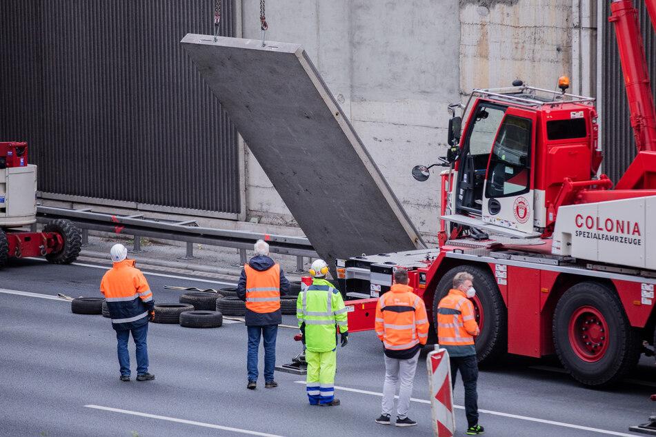 Nach dem Sturz einer Betonplatte auf die A3 auf das Auto einer 66-jährigen Kölnerin wurden weitere abgenommen. Auch sie könnten potenziell gefährlich sein.