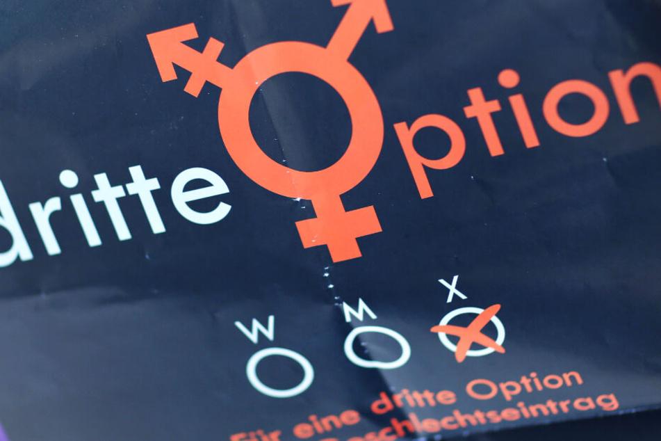 """Das Archivbild zeigt ein Plakat mit der Aufschrift """"dritte Option"""" und einem Zeichen für das dritte Geschlecht."""