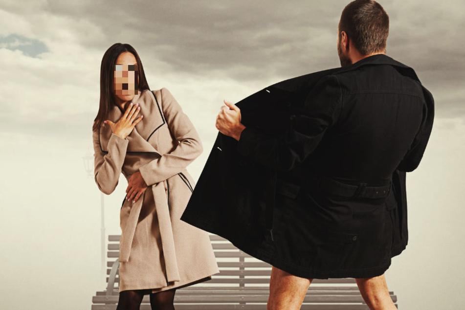 Exhibitionist zieht vor Frau (21) blank und fummelt an sich herum