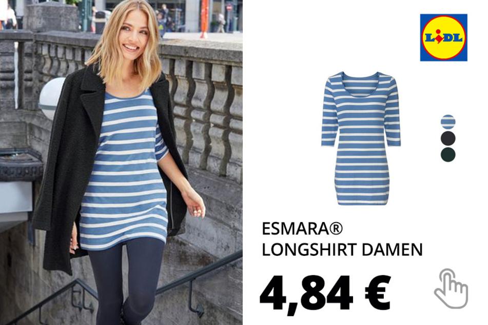 ESMARA® Longshirt Damen, mit 3/4-Ärmeln, mit Baumwolle