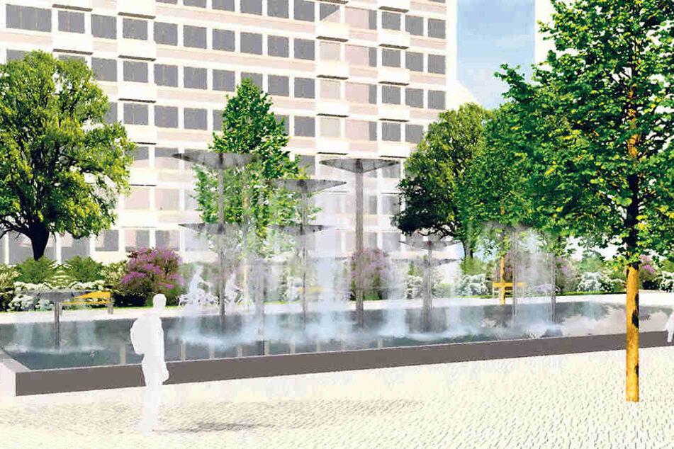 So soll der Schalenbrunnen am  Dippoldiswalder Platz sprudeln. Verantwortlich dafür ist Umweltbürgermeisterin  Eva Jähnigen (51, Grüne).