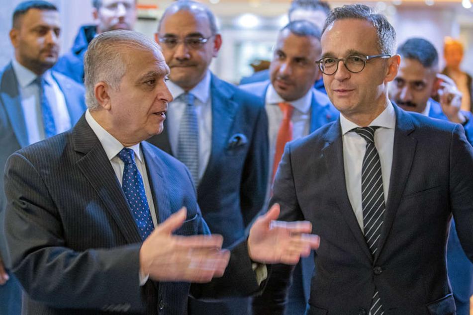 Außenminister Heiko Maas (SPD, re.) trifft sich derzeit mit Mohammed Ali Al-Hakim (li.), den Außenminister der Republik Irak.