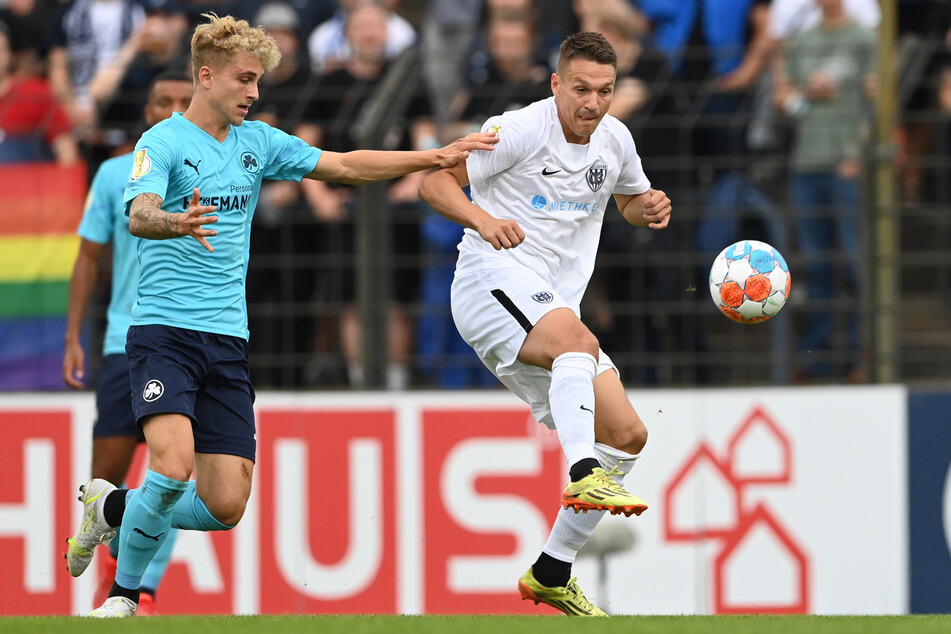 Daniel Frahn (34, r.) trifft in der 2. Pokalrunde auf seinen Ex-Klub RB Leipzig.