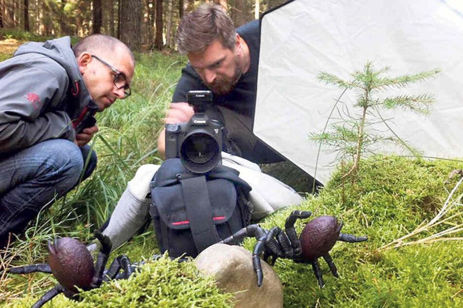 Sören Grochau (40, l.) und Michael Feindura (39) bei der Inszenierung eines  Spinnenangriffs im Wald.